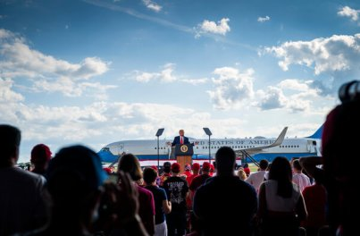 """President Trump speaking at a campaign rally in Oshkosh, Wis., on Monday. He warned that the 2020 election was a """"fight for the survival of our nation and civilization itself."""""""