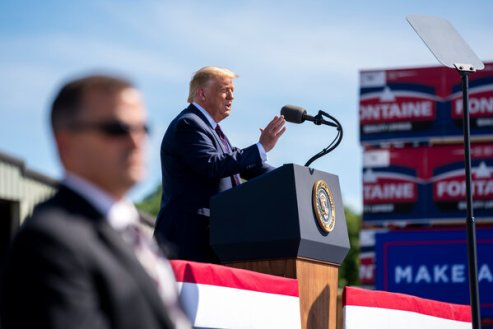 President Trump unleashed a barrage of attacks against his Democratic opponents on Thursday during a campaign event in Old Forge, Pa.