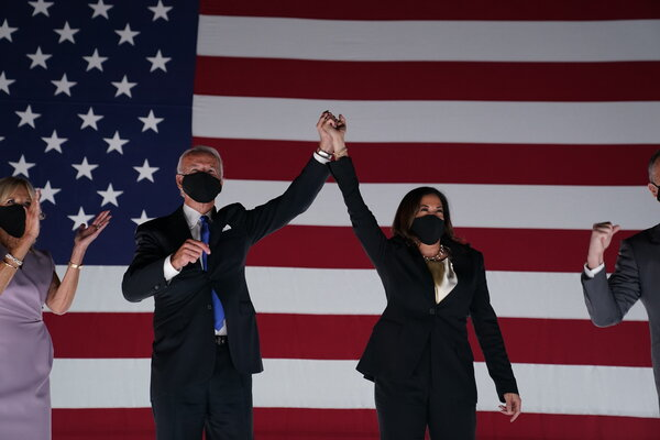 Joseph R. Biden Jr. and Senator Kamala Harris on the last night of the Democratic National Convention.
