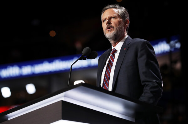 Jerry Falwell Jr., delivers a speech during the 2016 Republican National Convention in Cleveland, Ohio.