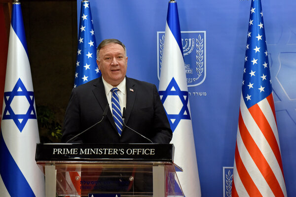 Secretary of State Mike Pompeo on Monday in Jerusalem. He is scheduled to address the Republican convention from Israel on Tuesday.