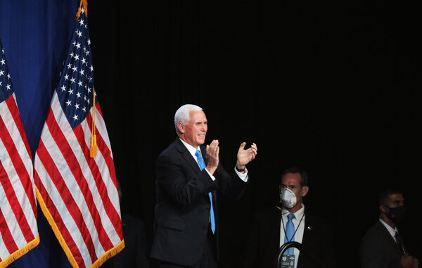 Vice President Mike Pence's speech came as delegates formally cast their votes for Mr. Trump at the opening-day roll call in Charlotte.