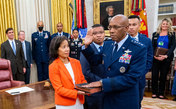Gen. Charles Q. Brown Jr. being sworn in this month as the Air Force chief of staff at the White House. He is the first African-American to hold the top job in the Air Force.