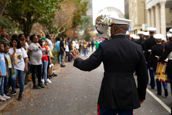 Colonel Henderson during a parade in New Orleans last year. He has moved through the ranks of the Marines at a lightning pace.
