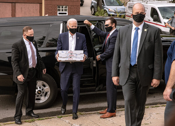 Joe Biden brought pizza during a visit on Monday to a firefighters union in Pittsburgh.