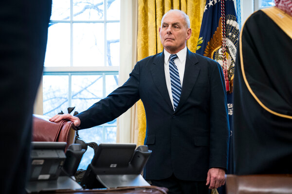John F. Kelly, the former White House chief of staff, in the Oval Office in 2018.