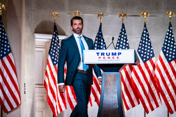 Donald Trump Jr., a top surrogate for his father, at the Republican National Convention in Washington last month.