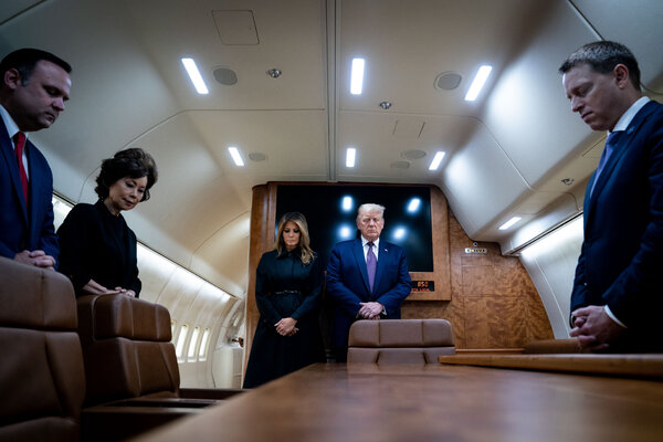 President Trump and his wife, Melania, held a moment of silence on Air Force One as they traveled to Shanksville, Pa.