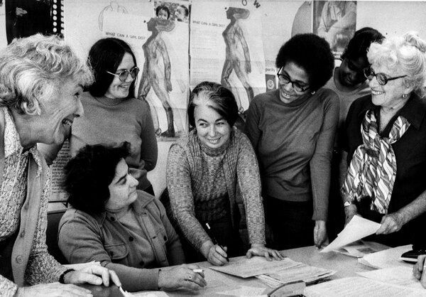 Florence Howe, center, with staff members of the Feminist Press in 1972.