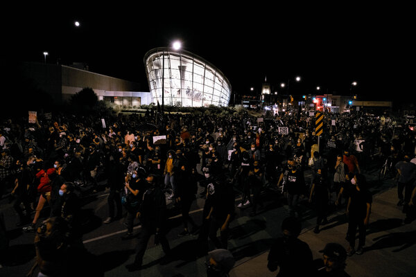 A protest this month over the death of Daniel Prude in Rochester, N.Y., drew hundreds.  Election Updates: Fires and Coronavirus Shadow Trump on Campaign Trail 14live unrest articleLarge