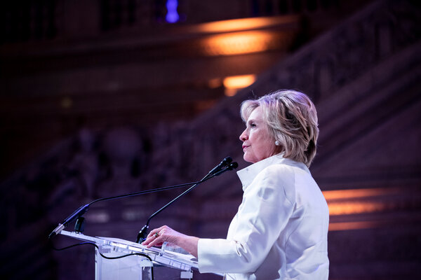 Hillary Clinton in February. She told Senator Kamala Harris at a Monday fund-raiser that Vice President Mike Pence would try to undermine her without bombast.