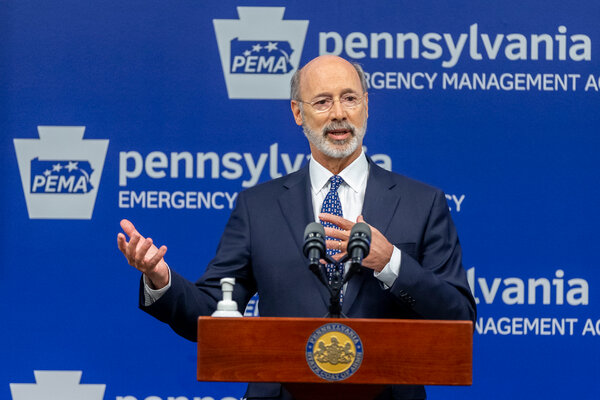 """Governor Tom Wolf of Pennsylvania, a Democrat, has called challenges to his coronavirus restrictions """"cowardly."""""""
