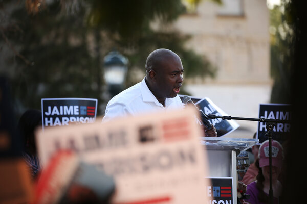 The Democratic Senate candidate for South Carolina, Jaime Harrison, is running even with his Republican opponent in a poll of likely voters released Wednesday by Quinnipiac University.