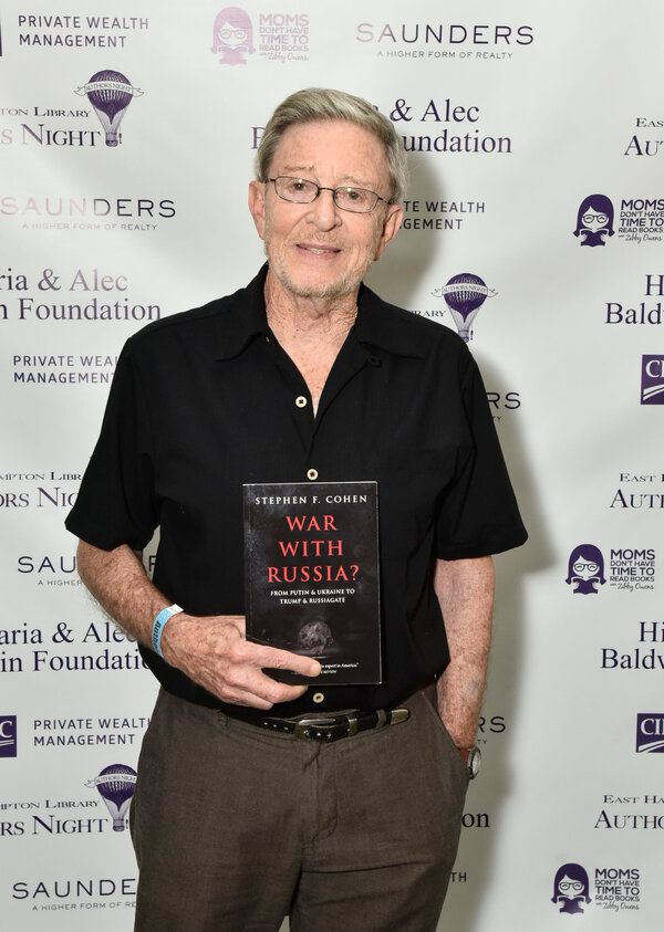"""Mr. Cohen at the East Hampton Library on Long Island last year with his final book, """"War With Russia?"""""""