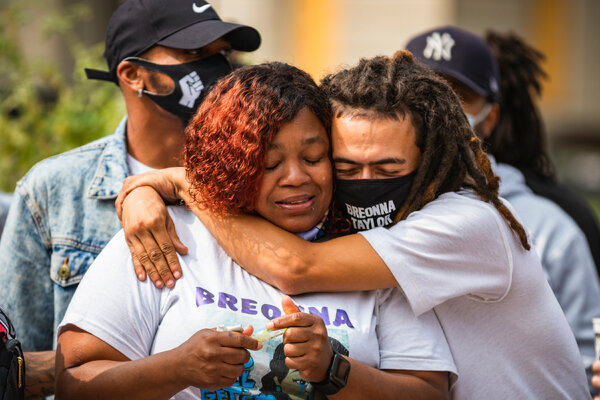 Breonna Taylor's mother, Tamika Palmer, left, after the city of Louisville, Ky., reached a $12 million settlement with her family last week.