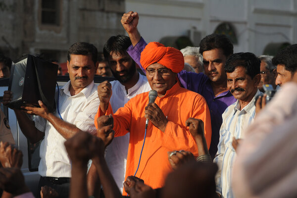 Mr. Agnivesh addressing supporters in the western Indian city of Ahmedabad in 2011. A pacifist monk, he championed social justice causes throughout India.