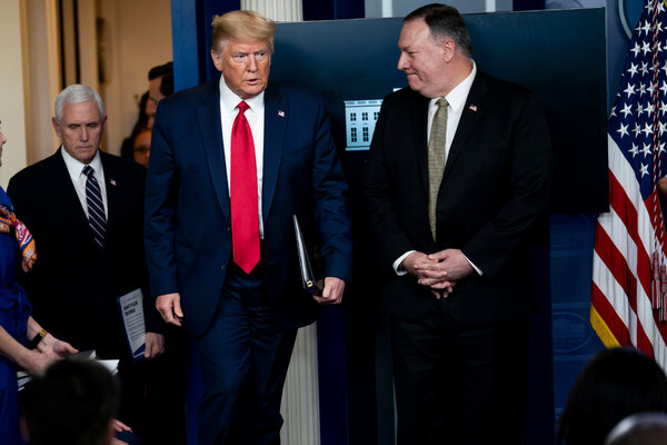 President Trump and Secretary of State Mike Pompeo at the White House in April.