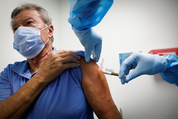 A volunteer taking a vaccine as part of a study in Hollywood, Fla., on Thursday.