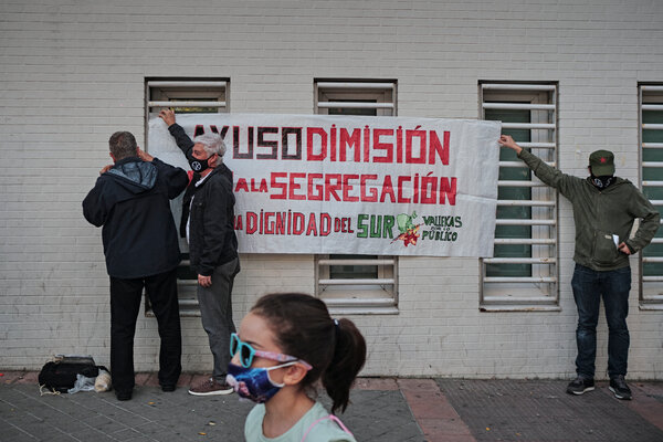 Protesting against the lockdown restrictions in Madrid this week.