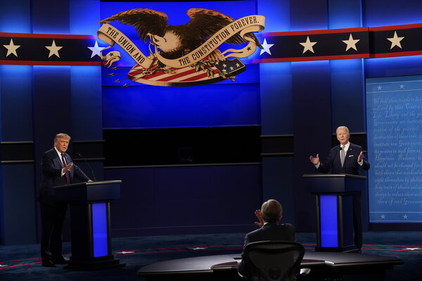 Mr. Trump and former Vice President Joseph R. Biden Jr., the Democratic nominee,  on Tuesday in Cleveland at the first presidential debate.