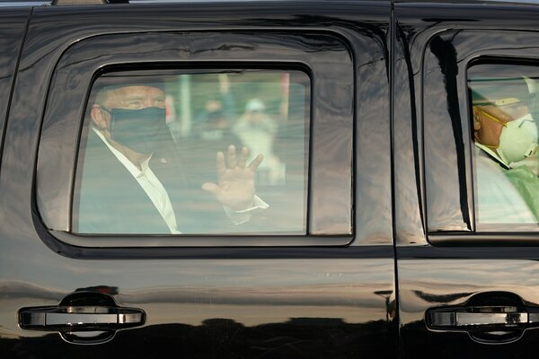 President Trump briefly left Walter Reed National Military Medical Center on Sunday to drive by supporters.