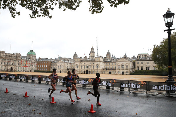 Only elite runners were allowed on the official course in London on Sunday.
