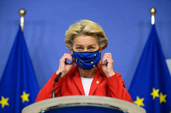 Ursula von der Leyen, president of the European Commission, in Brussels on Thursday. She was exposed to someone who later tested positive during a trip to Portugal earlier last week.