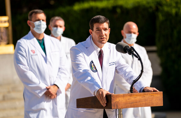 Dr. Sean P. Conley, President Trump's physician, spoke to reporters outside the Walter Reed medical center on Monday, hours before the president returned to the White House.