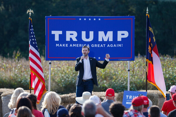 Eric Trump, the son of President Donald Trump, spoke at a campaign rally for his father in Monroe, N.C., last week.