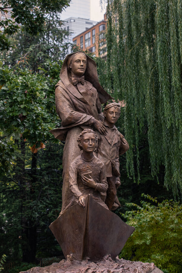 The Mother Cabrini statue by Jill and Giancarlo Biagi at Battery Park City in Manhattan.
