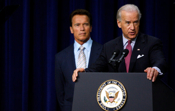 Mr. Biden, joined by Arnold Schwarzenegger, then California's governor, spoke in 2009 about job growth under the stimulus plan.