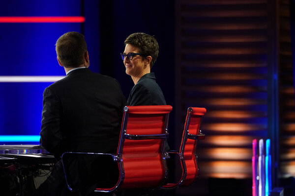 Rachel Maddow, the MSNBC anchor, was among those assailing NBC News for airing a town hall event with President Trump at the same time as one with Joseph R. Biden Jr.