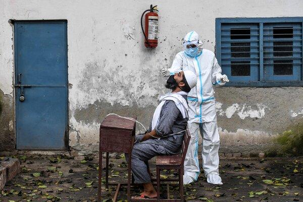 A temporary coronavirus test center at a New Delhi school last month.