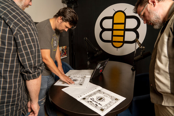 Kyle Mann, center, the editor in chief of The Babylon Bee, at its offices in Upland, Calif.