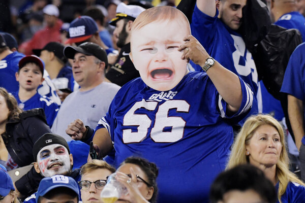 The Jets and the Giants are 0-5; their fans, pictured in 2018, are prohibited from attending games at MetLife this season.