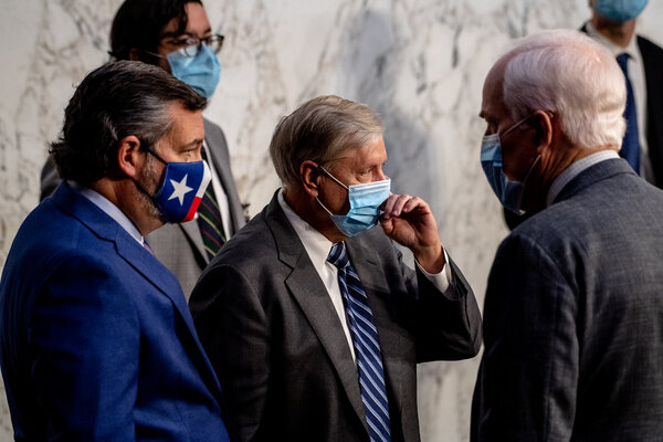 Senators Ted Cruz, Lindsey Graham and John Cornyn on Wednesday at the Capitol. Mr. Cruz and Mr. Graham have both made remarks about possible Republican losses because of President Trump.