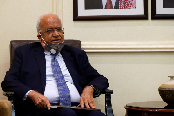 Saeb Erekat, the Palestinian Authority's chief negotiator, in Amman, Jordan, in September.