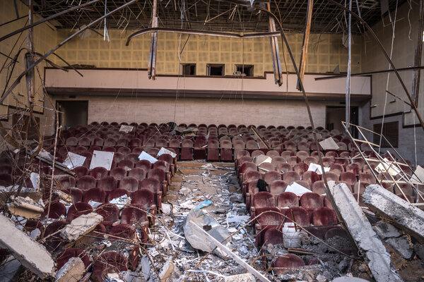 Damage to the House of Culture in Shusha, Nagorno-Karabakh.