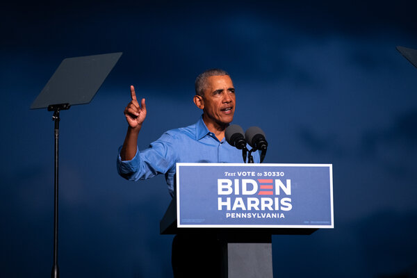 Former President Barack Obama spoke at a drive-in rally in Philadelphia on Wednesday