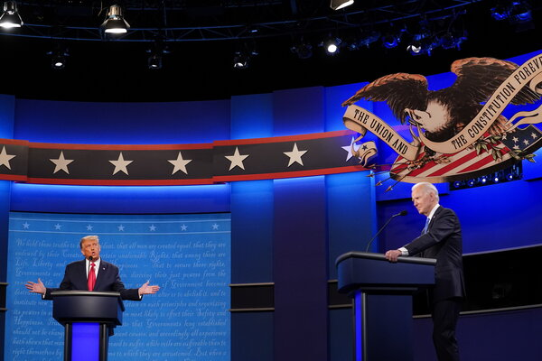 This debate on Thursday night between President Trump, left, and Joe Biden was noticeably calmer than the first.