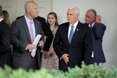 Vice President Mike Pence and his current chief of staff, Marc Short, in 2018.