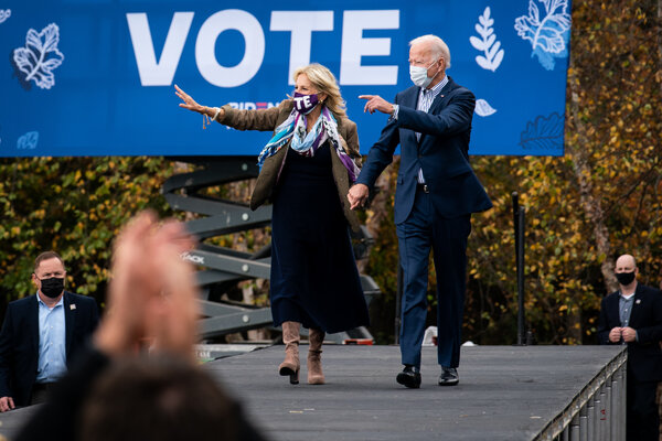 Former Vice President Joseph R. Biden Jr. with his wife, Jill Biden, at a rally in Bristol, Pa., on Saturday.