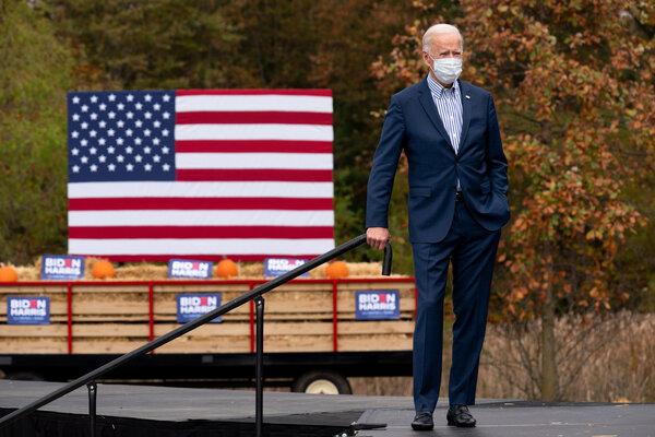 Joe Biden at a drive-in event at Bucks County Community College in Bristol, Pa., last week.