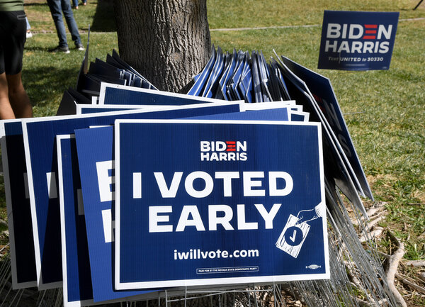 Biden-Harris campaign signs at a Democratic canvass kickoff with Stacey Abrams this past week in Las Vegas.
