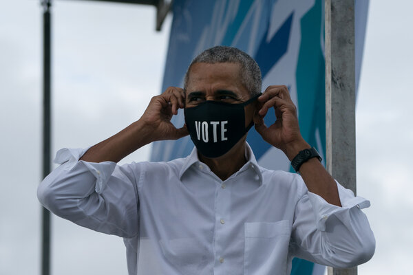 Former President Barack Obama campaigning for Joseph R. Biden Jr. at a car rally in North Miami on Saturday.