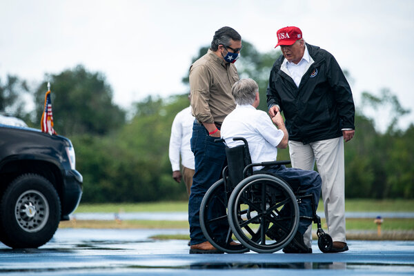 President Trump spoke with Senator Ted Cruz and Gov. Greg Abbott at the Orange County Airport in eastern Texas in August.