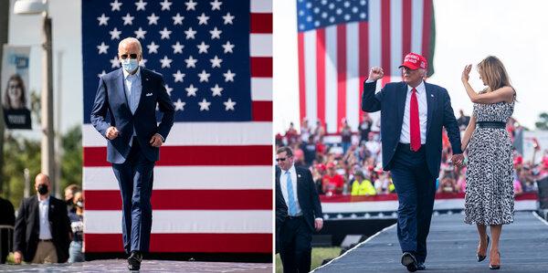 Joseph R. Biden Jr. and President Trump, accompanied by Melania Trump, both campaigned in Florida on Thursday.