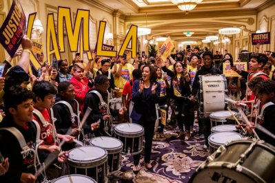 """Ms. Harris cheered on her supporters before before the Nevada State Democratic Party's """"First In The West"""" event in Las Vegas in 2019."""