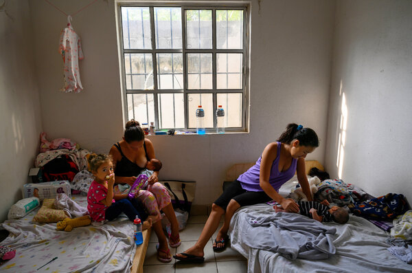 Griselda, left, from San Miguel, El Salvador, with her daughters Sofia, 3, and Ashley, 12 days old, shared a room with Maybel and her 11-day-old daughter, in a shelter in Matamoros in 2019. Both women crossed into the United States while heavily pregnant and were detained, processed and deported back into Mexico, where they delivered their babies.