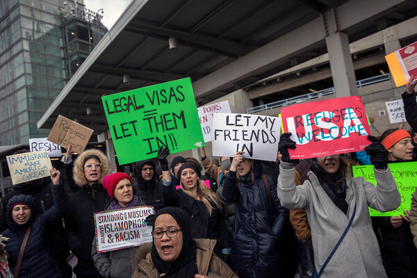 Protesters at Kennedy Airport in New York in January 2017, after President Trump banned travelers from seven predominantly Muslim countries.